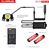 Newest Design Bundle: KLARUS BK30 1280 Lumen, Adjustable Triple Head LED Bikelight, Main light CREE XM-L2 U2, side lights CREE XP-G2, Tools Free, with C2 Charger & two 18650 Rechargeable Batteries