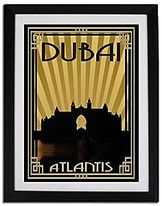 Atlantis - Sepia With Gold Border F06-nm (a2) - Framed