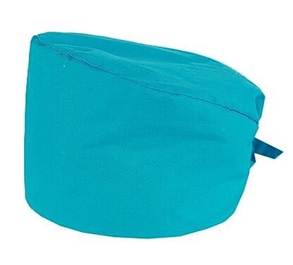 Adjustable Tie Back Cotton Scrub Cap Nurse Hat Medical Doctor Cap/(Azure/) Luna Vow