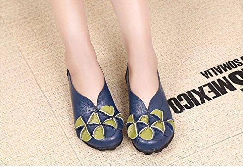 Cuero la Ocio Casual Suave de Conducción Barco de Mocasines Sólido Real Madre de Flores Calzado de Nuevas Azul Zapatos Pisos Femenina Zapato Mujeres cUg8P7xzW