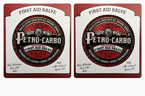 J.R.Watkins Petro-Carbo Medicated First aid salve 4.37 oz (Two Pack)