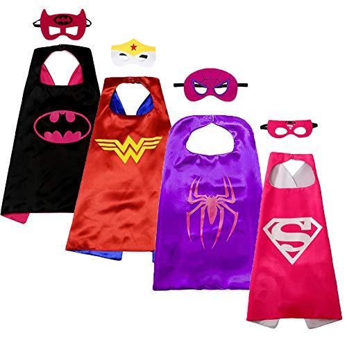 Darlene Chaplin Kids Dress up Cartoon Superhero Costume with Satin Cape and Matching Felt Mask