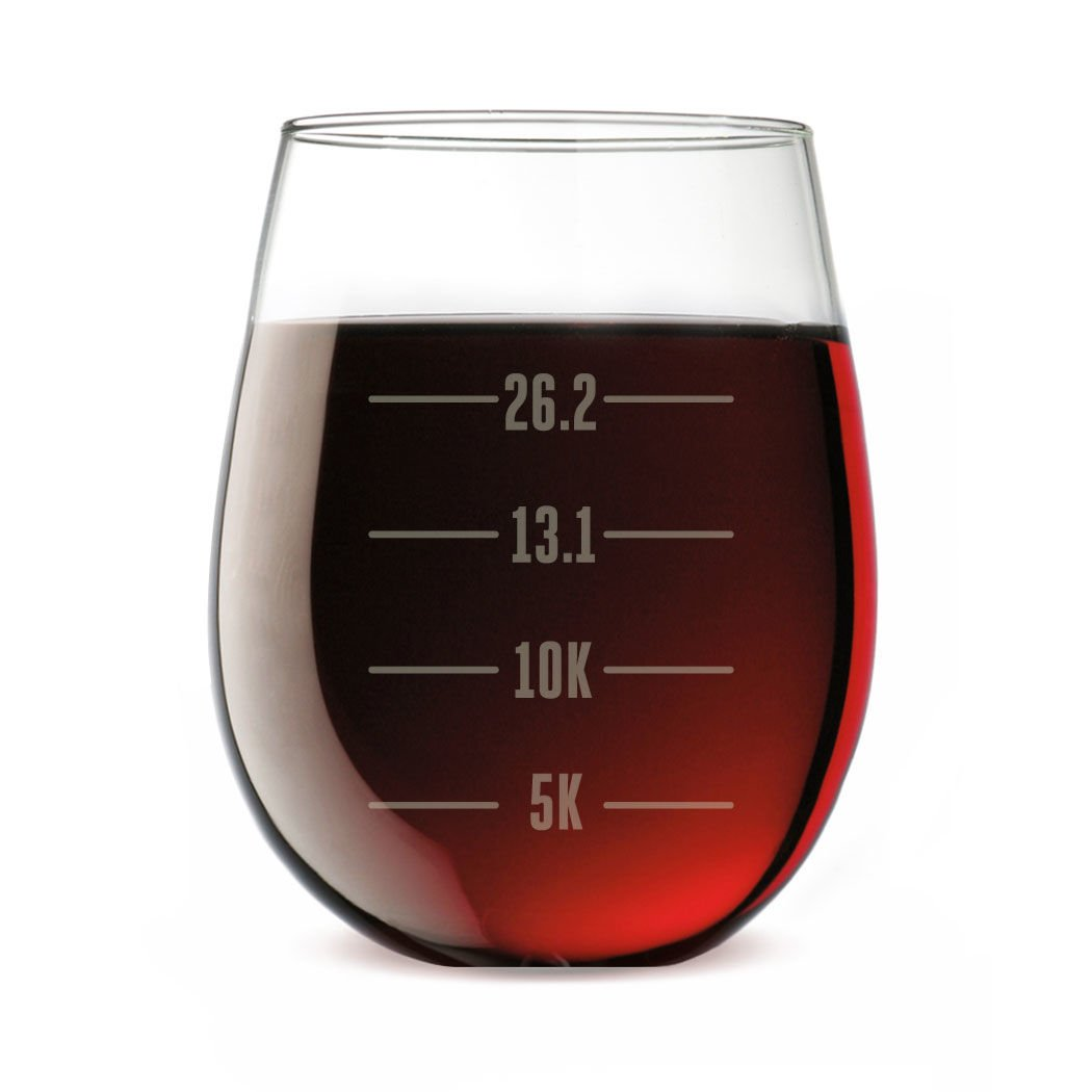Runner's Measurements Engraved Stemless Wine Glass   Wine Glasses By Gone For a Run   15 oz.
