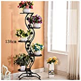 European-Style Simple Balcony Iron Floor-Style Flower Rack/Multi-Layer Indoor and Outdoor Metal Plant Display Stand-Black