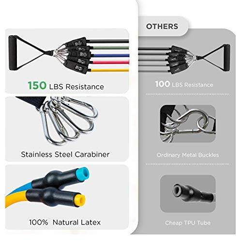 HAISITING Resistance Bands Set,Workout Bands,Exercise Bands for Men & Women,5 Tube Fitness Bands with Door Anchor,Handles,Portable Bag,Legs Ankle Straps for Musle Training,Shape Body,Home Workouts