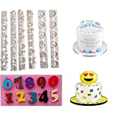 7Pcs DIY Cake Molds 3D Emoji Cookies Candy Chocolate Baking, Digital, Alphabet Moulds Decorating for Baby Kids Birthday Party
