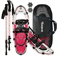 HRKING Adult All Terrian Snowshoes Set for Women Men,Youth with Trekking Poles,Carrying Tote Bag Red