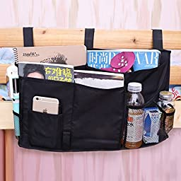 Chris-Wang 8 Pockets Bedside Caddy - Hanging Storage Organizer for Books, Phones, Tablets, Accessory and TV Remote - Best for Headboards, Bunk Beds, Apartments, Bathrooms & Travel(Black)