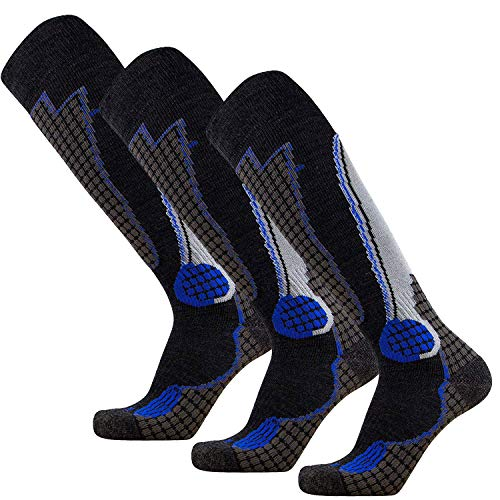 Pure Athlete High Performance Wool Ski Socks – Outdoor Wool Skiing Socks, Snowboard Socks (Black/Grey/Blue - 3 Pack, Medium) (High Ski Performance Sock)