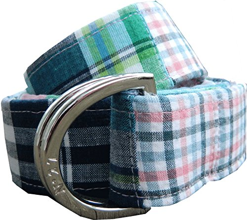 No27 Pink and Blue Plaid D-Ring Fabric Belt Medium Summer Plaid (Adult Large, multicolor)