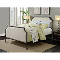 Pulaski DS-D040002-290 Industrial Clipped Corner Upholstered Panel Queen Metal Bed, 86.5 x 65.38 x 54.0, Cream