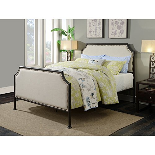 Pulaski DS-D040002-290 Industrial Clipped Corner Upholstered Panel Queen Metal Bed, 86.5