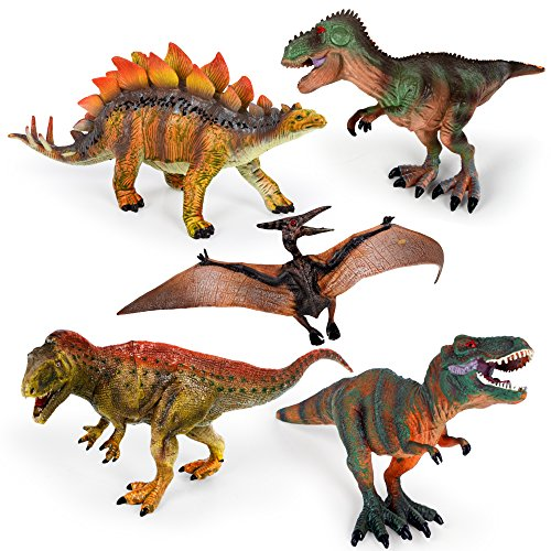 "Kids Imaginative Dinosaurs Small & Large Plastic Assorted Toy Dinosaurs | 5 Piece Set, 6.4"" - 10.4"" 