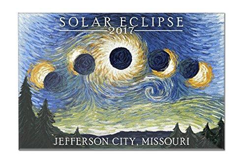 Jefferson City, Missouri - Solar Eclipse 2017 - Starry Night (18x12 Acrylic Wall Sign) by Lantern Press