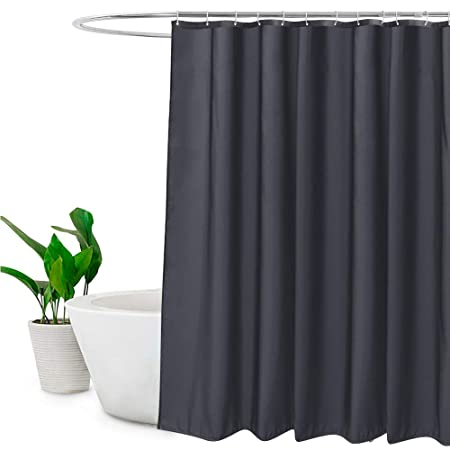 EurCross Extra Long Shower Curtain With Hooks Plain Design Polyester Bathroom Water