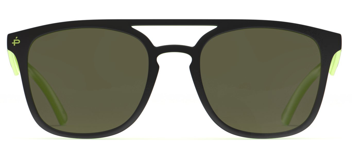 PRIVÉ REVAUX Places We Love Collection''The Zona'' Polarized Handcrafted Designer Square Sunglasses (Olive Green/Gold Mirror)