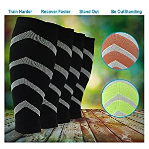 FOOTLOOSE Calf Compression Sleeves, 3 pairs of Leg Support Socks for Shin Splints & Calf Pain Relief, Boost Performance & Sportswear Sleeves - Medium to Large Size