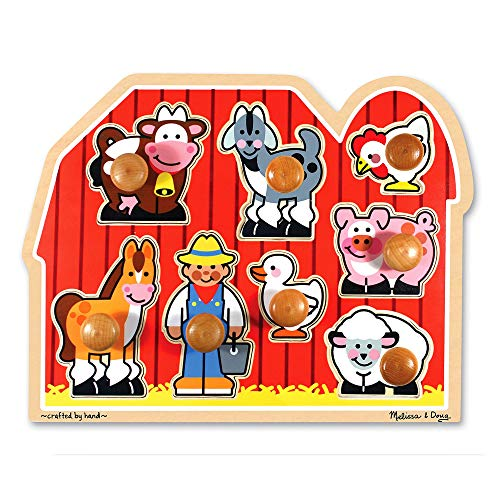 Melissa & Doug Large Farm Jumbo Knob Puzzle, Colorful Farm Artwork, Extra-Thick...