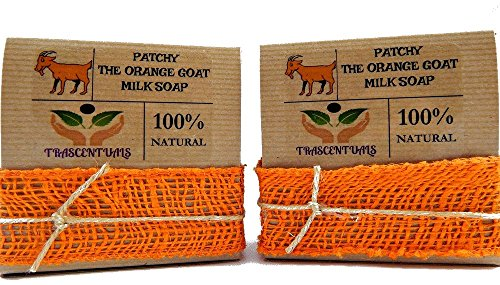 Patchouli Oil Goat Milk Soap With Organic Turmeric and Orange Essential Oil 100% Natural and Handmade Contains Coconut Olive Hemp Oil (2 Pack)