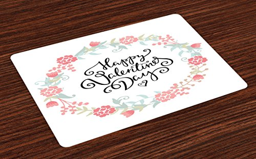 - Ambesonne Valentines Day Place Mats Set of 4, Floral Arrangements Buds Roses Tulips Circle Love Valentine Hearts, Washable Fabric Placemats for Dining Room Kitchen Table Decor, White and Black
