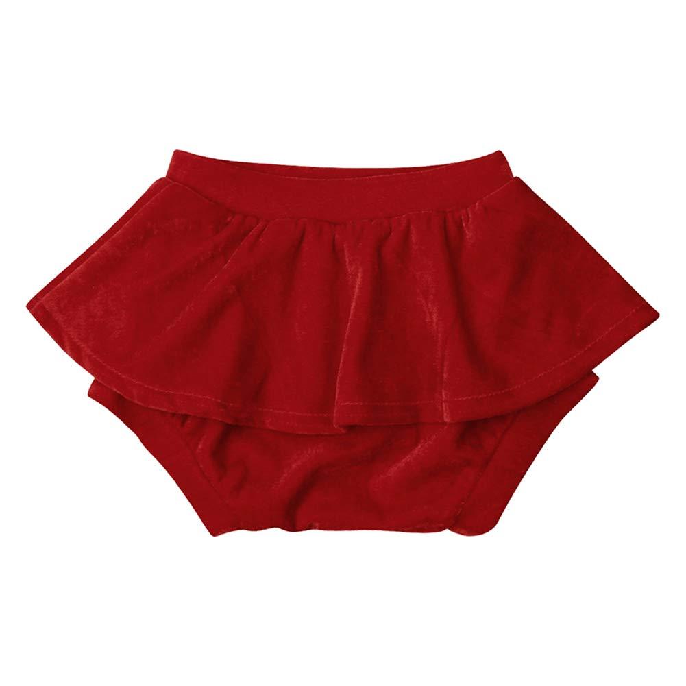 Calsunbaby Newborn Baby Girls Velvet Ruffle Shorts Diaper Covers Bloomers Short Pant Outfit