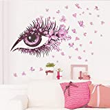 Amaonm Beautiful Pink Eyes & Flying Butterfly Wall Decal Removable DIY Art Decor Wall Stickers & Murals for Girls Kids Bedroom Living Room Nursery Room Offices TV Background