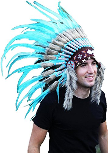 The World of Feathers N51- Light Blue/Turquoise Feather Headdress/Warbonnet, -