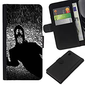 All Phone Most Case / Oferta Especial Cáscara Funda de cuero Monedero Cubierta de proteccion Caso / Wallet Case for Sony Xperia Z1 L39 // Monster Ghost Halloween Black Scary Terror Ink