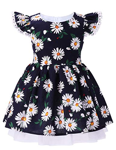 ANATA Toddler Flower Party Dress Kids Sleeveless Birthday Floral Dress Girls Summer Clothes Ruffle Sleeve Flutter Bridesmaid Wedding Gown Daisy Navy 02 5-6 Years