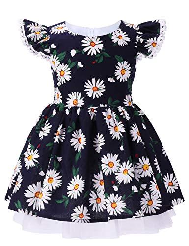 ANATA Toddler Flower Party Dress Kids Sleeveless Birthday Floral Dress Girls Summer Clothes Ruffle Sleeve Flutter Bridesmaid Wedding Gown Daisy Navy 02 5-6 Years ()