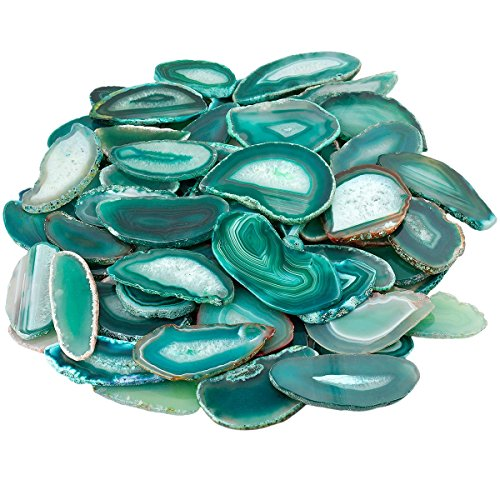 mookaitedecor Polished Agate Light Table Slices,Geode Agate Slab Cards Pack of 12 ()