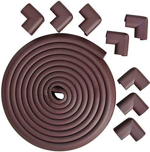 Eoney Edge Protectos & Corner Guards Set | Corner Cushion with 8 Corner Guards for Baby Safety | Furniture Table Safety Bumper | with 3M Tape(Brown)