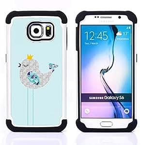 """Samsung Galaxy S6 / SM-G920 - 3 en 1 impreso colorido de Altas Prestaciones PC Funda chaqueta Negro cubierta gel silicona suave (Lindo soñoliento Art Dibujo Polígono"""")"""