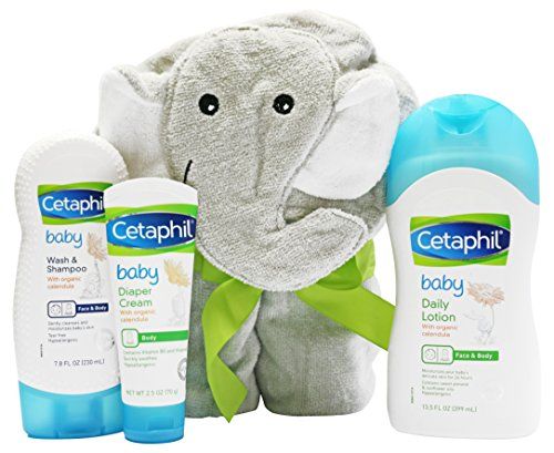 Cetaphil Baby Sensitive Skin Bath Time Essentials Gift Set with Elephant Hoodie towel - Baby Cream Bath