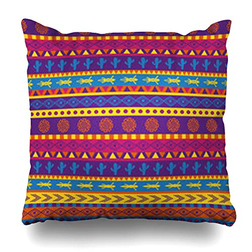 HomeOutlet Throw Pillow Cover Colored Brown Southwest Mexican Pattern Bright Color in Scheme Abstract Orange American South Aztec Pillowcase Square Size 20 x 20 Inches Home Decor Sofa Cushion Case (Patio Africa South Covers Chair)