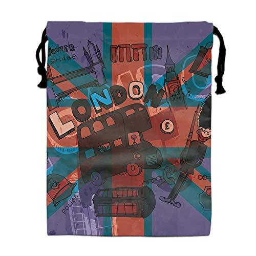 Grunge London Uk Flag Drawstring Gym Sport Bag Durable Drawstring Bag for Teen 11.8 × -