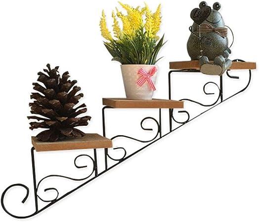 Soporte de exhibición de plantas de madera Colgante de pared Estante de escalera de flores - Plantas suculentas, Mini Cactus - Tienda de ropa de café Decoración de pared Porta hierro forjado:
