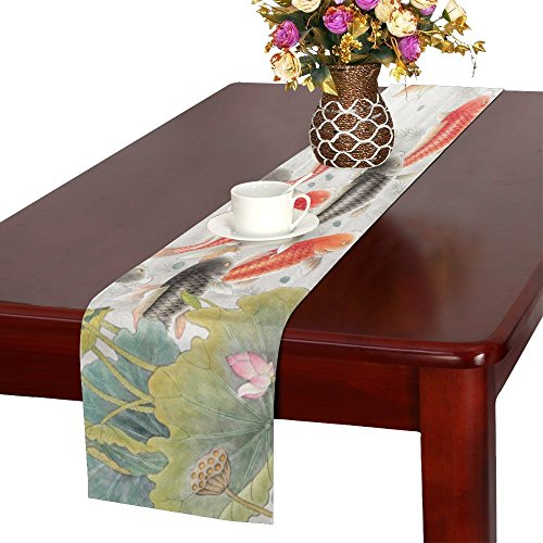 InterestPrint Oriental Asian Ink Koi Goldfish Painting Table Runner Cotton Linen Cloth Placemat Home Decor for Home Kitchen Dining Wedding Party 16 x 72 Inches
