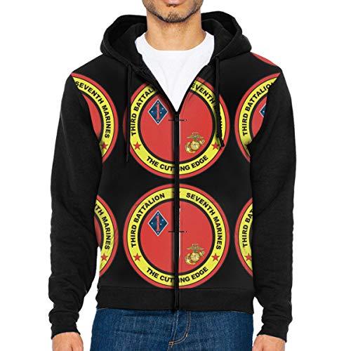 (Men's Jacket Sweatshirt 3Rd Battalion, 7Th Marines Decal Vintage Hoodies for Men Lightweight Sports Full Zip Hoodie Hooded S)