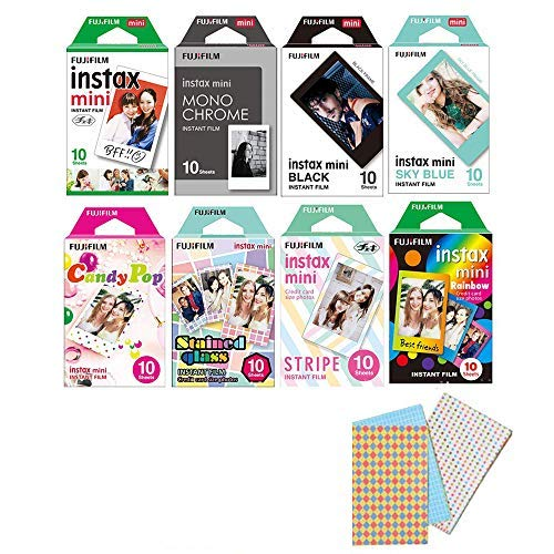 Fujifilm Instax Mini Instant Film 8-SET , Monochrome + Black + Sky Blue + Single + Candy Pop + Stained Glass + Stripe + Rainbow +  Sticker for Mini 90 8 70 7s 50s 25 300 Camera SP-1 Printer]()