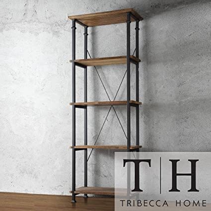 Tribecca Home Myra Vintage Industrial Modern Rustic Bookshelf Brown