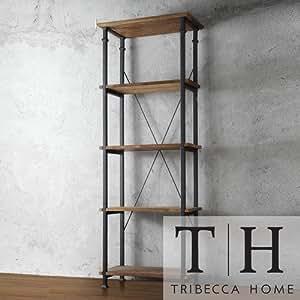 Tribecca Home Myra Vintage Industrial Modern Rustic Bookshelf, Brown