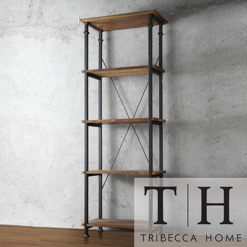 Tribecca Home Myra Vintage Industrial Modern Rustic Bookshelf, Brown (Bookcase Wide 26)