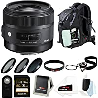 Sigma 30 mm f/1.4 Art Lens for Nikon with Backpack Accessory Bundle