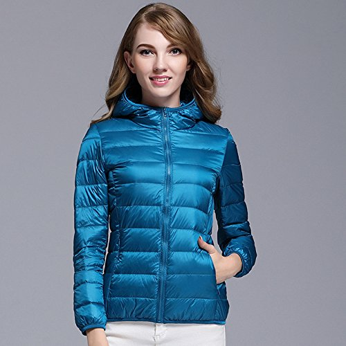 invierno con Ake capucha Woman Packable abajo Outwear azul Puffer chaquetas de oc wqqHgX