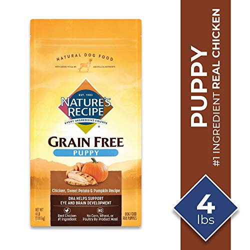 Nature's Recipe Grain Free Chicken, Sweet Potato & Pumpkin Recipe Dry Dog Food for Puppies, 12 Pounds
