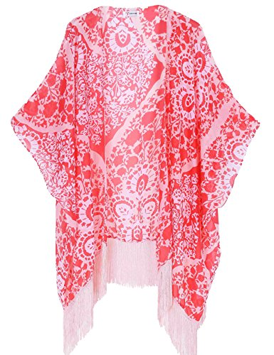 Kimono Lady Pink - Women's Floral Kimono Cover Up - Lightweight Leopard Chiffon Beachwear for Bikini,Cardigan and Swimwear(One Size,Peach)