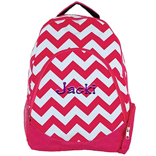 Personalized Hot Pink Chevron Custom Monogrammed Backpack