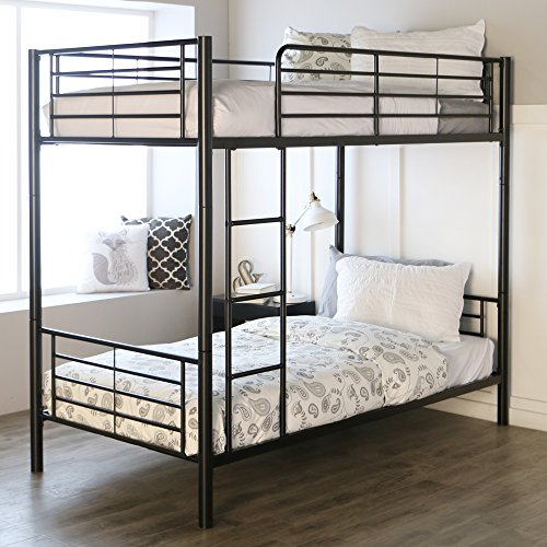 - Sturdy Metal Twin-over-Twin Bunk Bed in Black Finish