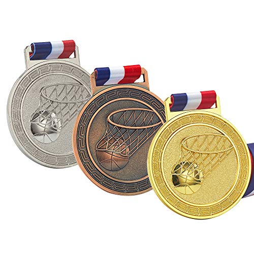 Basketball Medals for Kids, Gold Silver Bronze Medals for Basketball, Well-Crafted Basketball  Award Medals, Sport Medal Award Set with Neck Ribbon, Antique Finish Shiny Design ()